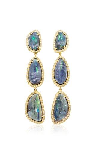 18K Yellow Gold Long Opal Earth Earrings