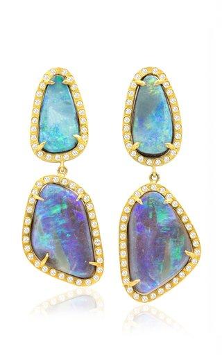 18K Yellow Gold Opal Earth Earrings
