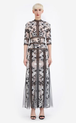Tiffany Floral-Embroidered Tulle Maxi Dress