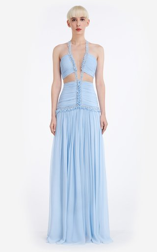 Kimberly Silk Chiffon Cut-Out Gown