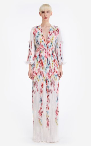 Alissa Pleated Floral Georgette Gown