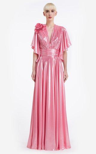 Heather Liquid Lurex Draped Gown