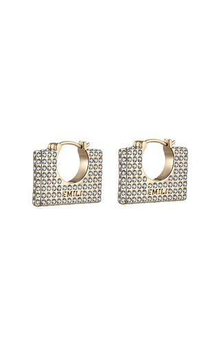 Cara Square Crystal Gold Plated Earrings