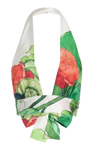 Printed Silk Halterneck Top