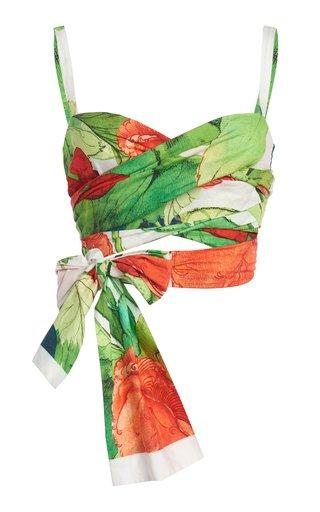 Printed Popeline Cotton Bralette Top
