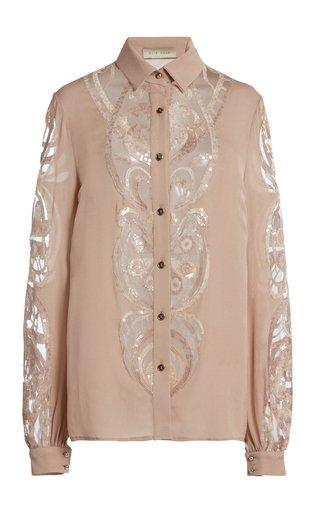 Sequin-Embellished Silk-Blend Shirt