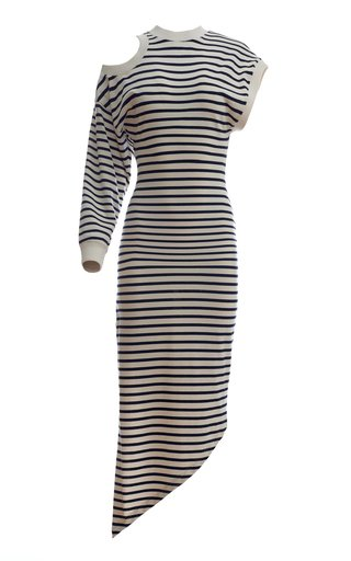 Cutout Striped Organic Cotton Midi Dress