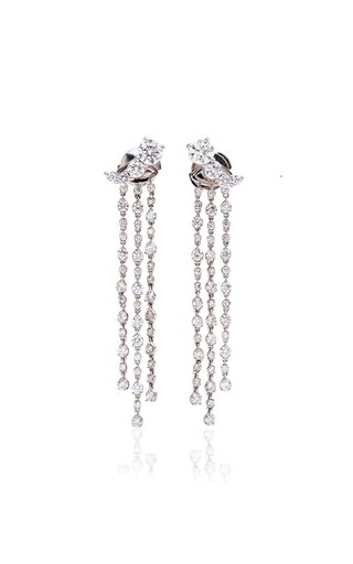 18K White Gold Fountain Earrings