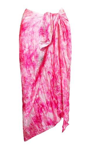 Embroidered Silk Tie-Dye Pareo