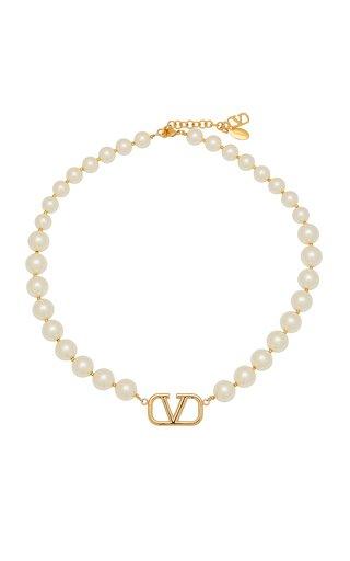 Valentino Garavani Vlogo Pearl Signature Necklace