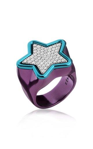18K White Gold Star Ring