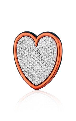 18K White Gold Heart Earring