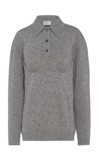 Bra-Detailed Cashmere Polo Top