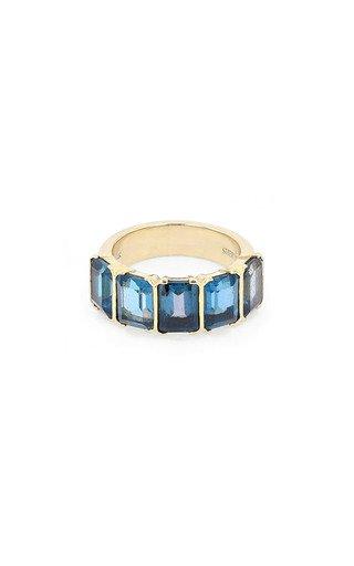 14K Yellow Gold London Blue Ring