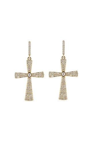 Silver Bezel Cross Earrings