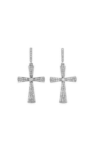 14K Yellow Gold  Bezel Cross Earrings