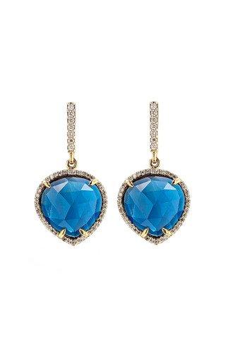 14K Yellow Gold London Blue Drop Earrings