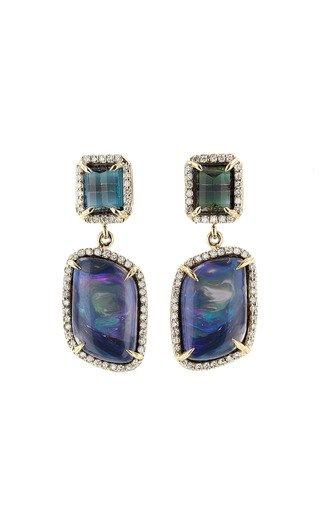 One of a Kind 14K Yellow Gold Pavé Diamond London Blue Topaz & Opal Drop Earrings
