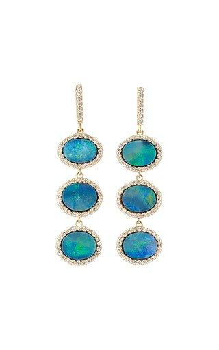 One of a Kind 14K Yellow Gold Triple Drop Opal Earrings