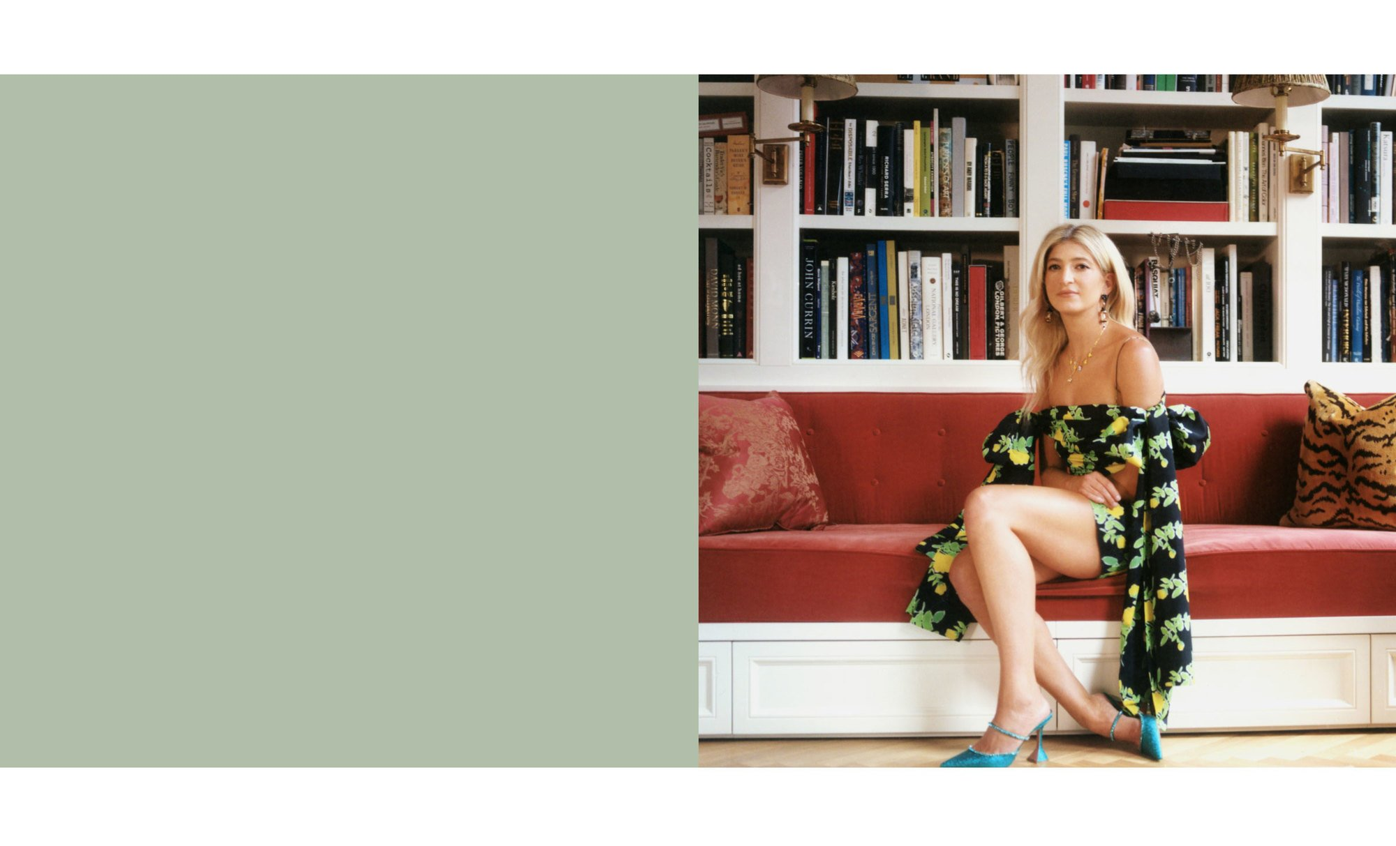 Sarah Hoover sitting in her home in a Bernadette Antwerp dress