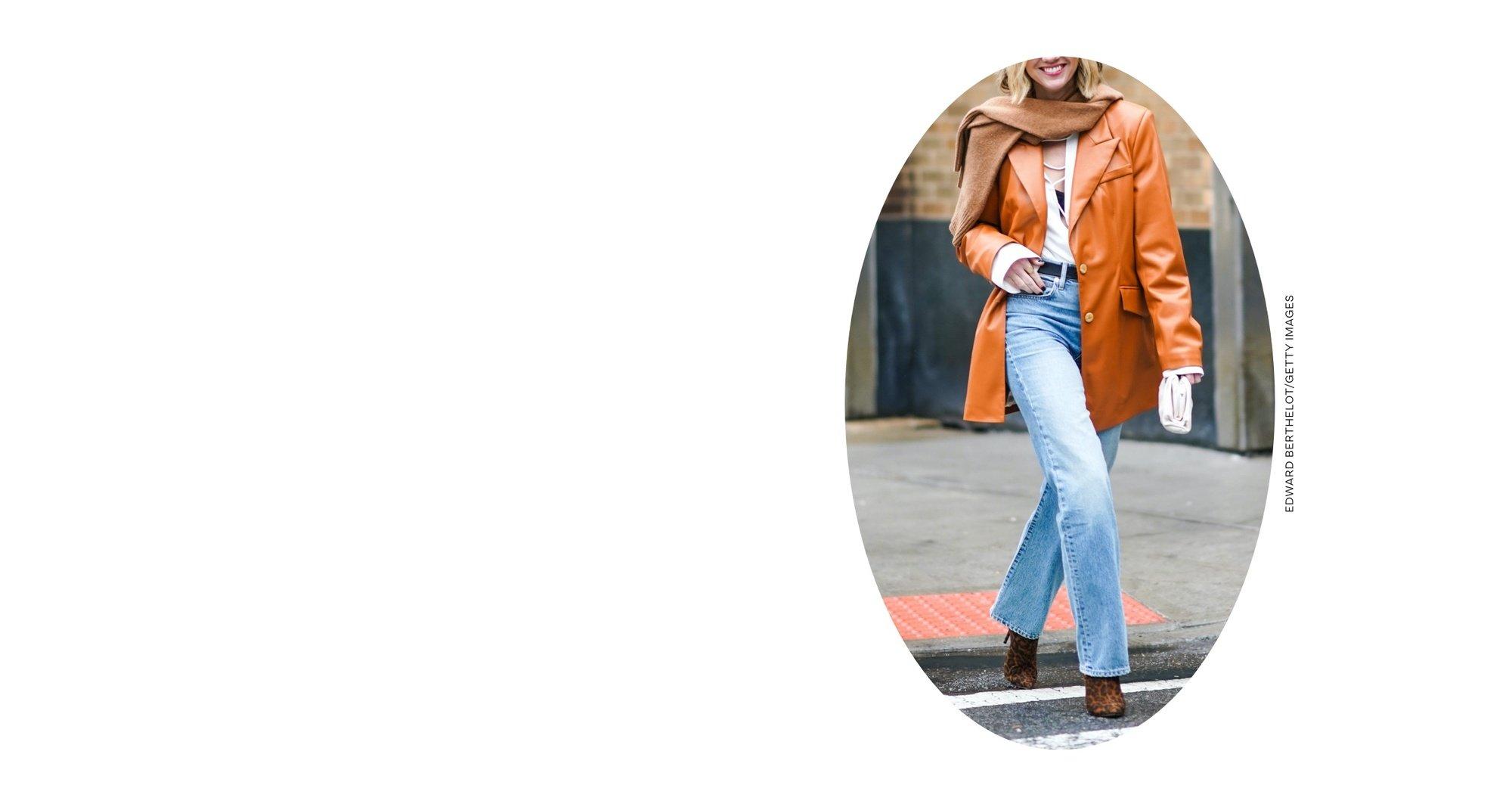 Woman wearing straight leg jeans