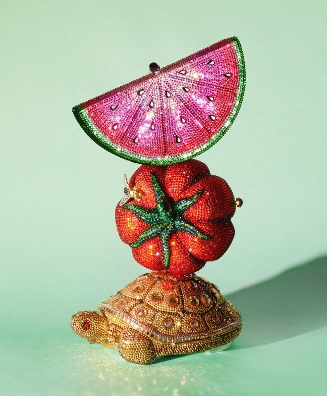 Judith Leiber bags in watermelon, tomato, and turtle shapes