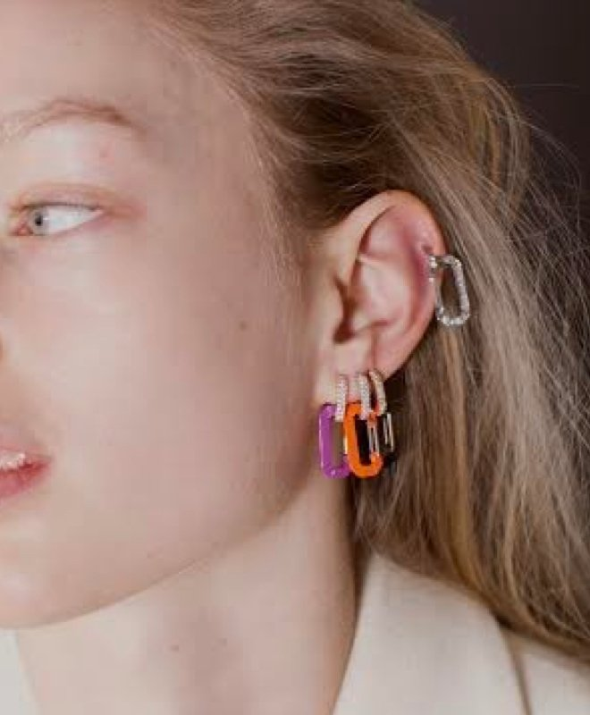 Woman with colored earrings