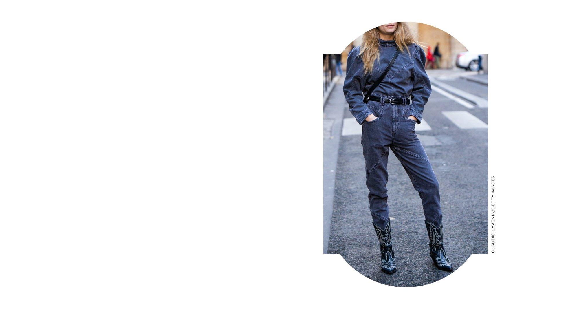 Woman wearing a denim jumpsuit